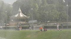 Le carrousel de la Tour Eiffel seen throug water drops, Paris Stock Footage