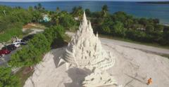 Amaizing  aerial video of world's tallest sand castle Stock Footage