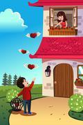 Man sending love to his girlfriend - stock illustration