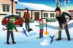 Family shoveling snow in front of their house - stock illustration