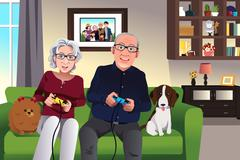 Elderly couple playing games at home - stock illustration