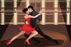 Couple dancing tango - stock illustration
