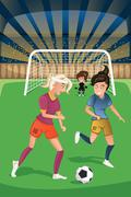 Women playing soccer in a match - stock illustration