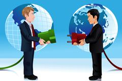 Business concept of connecting Eastern and Western world Stock Illustration