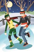 Couple ice skating Stock Illustration