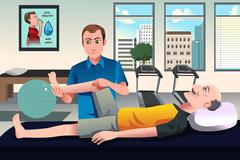 Physical therapist working on a patient - stock illustration