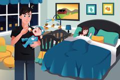 Father holding a newborn baby - stock illustration