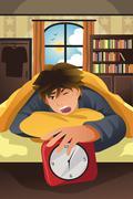 Sleeping man turning off alarm - stock illustration