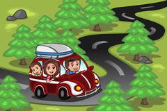 Family on a road trip Stock Illustration