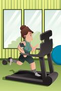 Overweight person running on a treadmill in a gym Stock Illustration