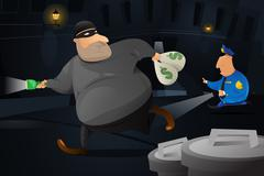 Policeman catching a robber in a dark alley - stock illustration