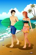 Surfer couple on the beach - stock illustration