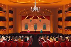 Spectators inside a theater Stock Illustration