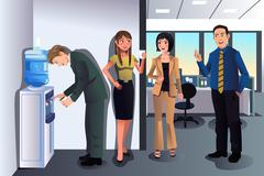 Business people chatting near a water cooler - stock illustration