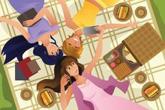 Teenage girls taking selfie while lying down Stock Illustration