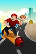 Stock Illustration of Pizza delivery guy deliver the pizza