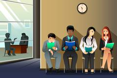People waiting for job interview Stock Illustration