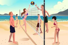 Stock Illustration of Young people playing beach volleyball