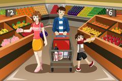Family shopping Stock Illustration