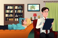 Psychiatrist working with a patient Stock Illustration