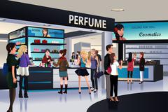 Shoppers shopping for cosmetic in a department store - stock illustration