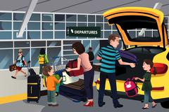 Family traveler outside the airport - stock illustration