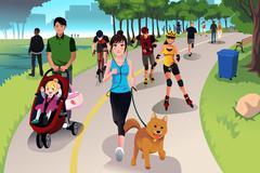 Active people in a park - stock illustration