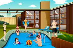 Family and friends spending time in the backyard swimming pool - stock illustration