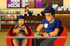Father and son eating  breakfast - stock illustration