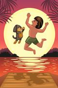 Boy and his dog jumping off the dock Stock Illustration
