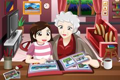 Grandma and granddaughter looking at picture album - stock illustration