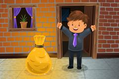 Man finding a bag of money Stock Illustration