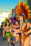 Dancing people in a street carnival - stock illustration
