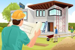 Architect working at the construction site - stock illustration