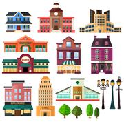 Buildings and lamp post icons - stock illustration