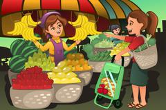 Fruit seller at the farmers market with a customer Piirros