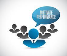 Motivate Performance teamwork sign concept - stock illustration