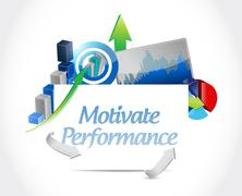 Stock Illustration of Motivate Performance business board sign concept