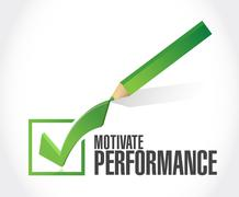 Motivate Performance check mark sign concept - stock illustration