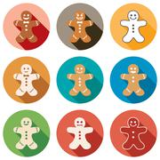 vector flat icons of gingerbread men - stock illustration