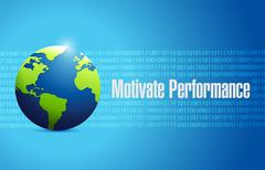 Motivate Performance globe binary sign concept - stock illustration