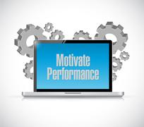 Motivate Performance tech computer sign concept - stock illustration