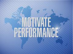 Motivate Performance world map sign concept Stock Illustration