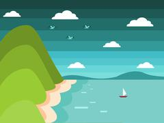Sea Mountain Flat Landscape Stock Illustration
