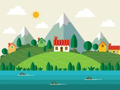 Mountain Flat Landscape Piirros