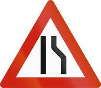 Norwegian road warning sign - Road narrows on right - stock illustration