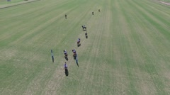 Polo match aerial view scene. Drone camera aerial pan. Stock Footage