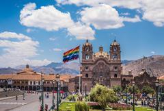 Plaza de Armas in historic center of Cusco, Peru Stock Photos