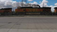 Freight Train Engines Spewing Black Exhaust Fumes- Gallup NM Stock Footage
