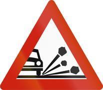 Norwegian road warning sign - Loose chippings Stock Illustration